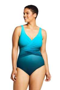 best women's swimsuit with a flattery slender wrap in the midsection made by Land's End