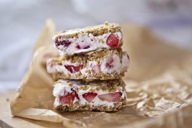 Strawberries & Cream Icebox Bars