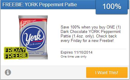 Save 100% when you buy ONE (1) Dark Chocolate YORK Peppermint Pattie (1.4oz. only). Check back every Friday for a new Freebie! Expires 11/16/2014
