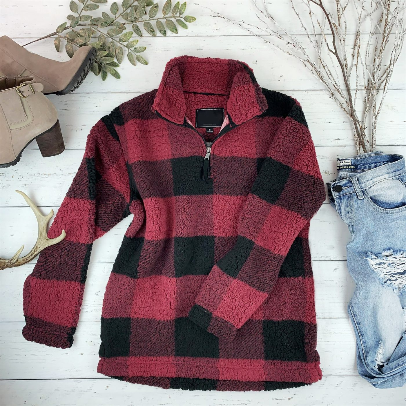Was $65.00 - Now $39.99 - Buffalo Plaid Sherpa 1/4 Zip Pullover | Free Shipping (10/12 to 10/14)