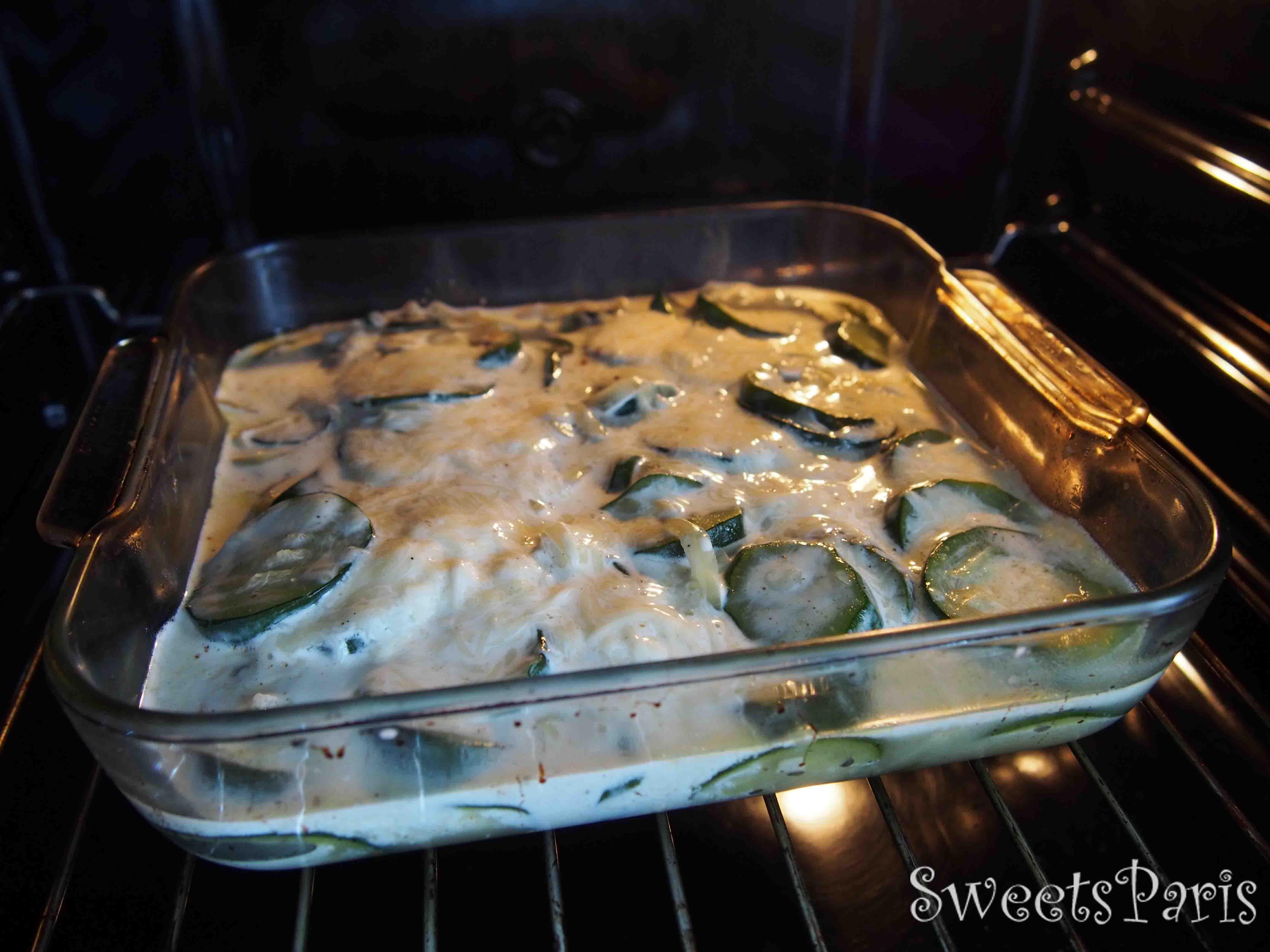ズッキーニのグラタンのレシピ recette gratin de courgettes