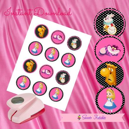 ALICE IN THE WONDERLAND CUPCAKE TOPPERS 2- IMAGEN PROMO