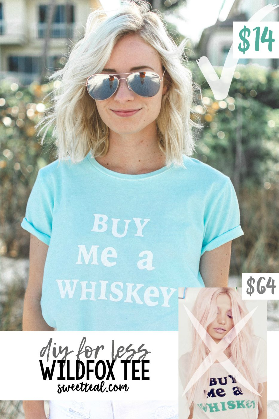 """""""Buy Me A Whiskey"""" DIY FOR LESS Wildfox Tee by Jenny of Sweet Teal"""