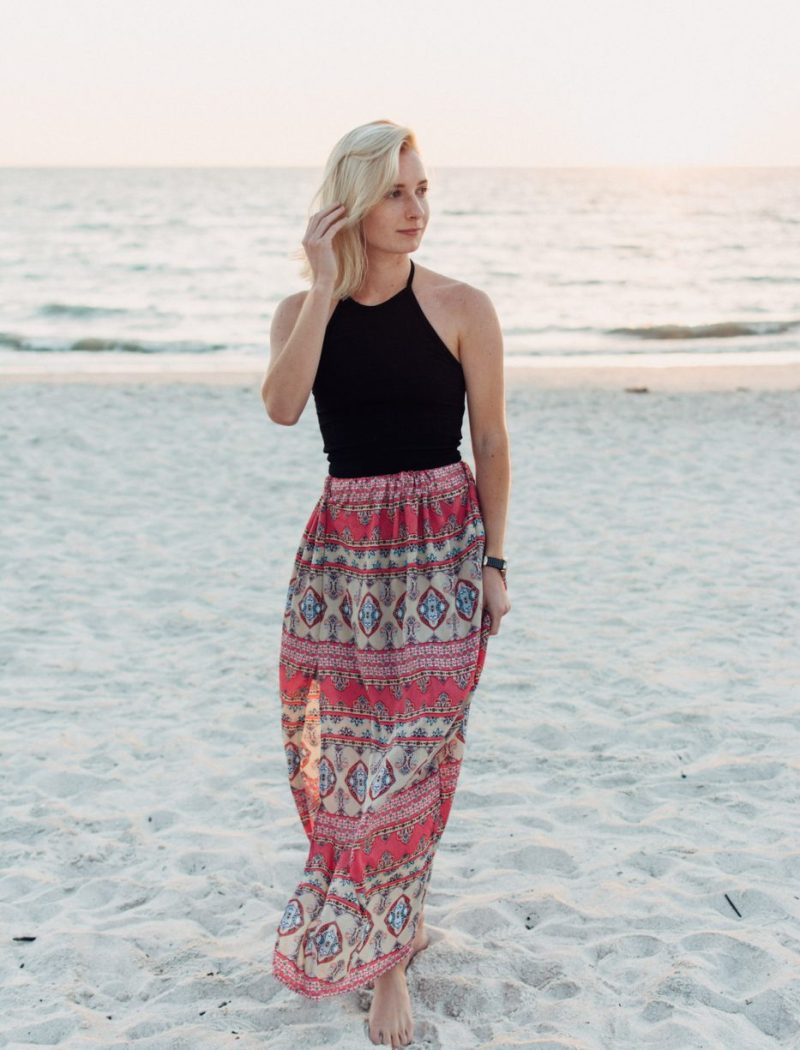 DIY Maxi Skirt With Lining & a Slit by Jenny of Sweet Teal