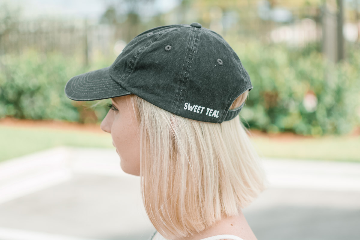 Sweet Teal vinyl decal on baseball cap