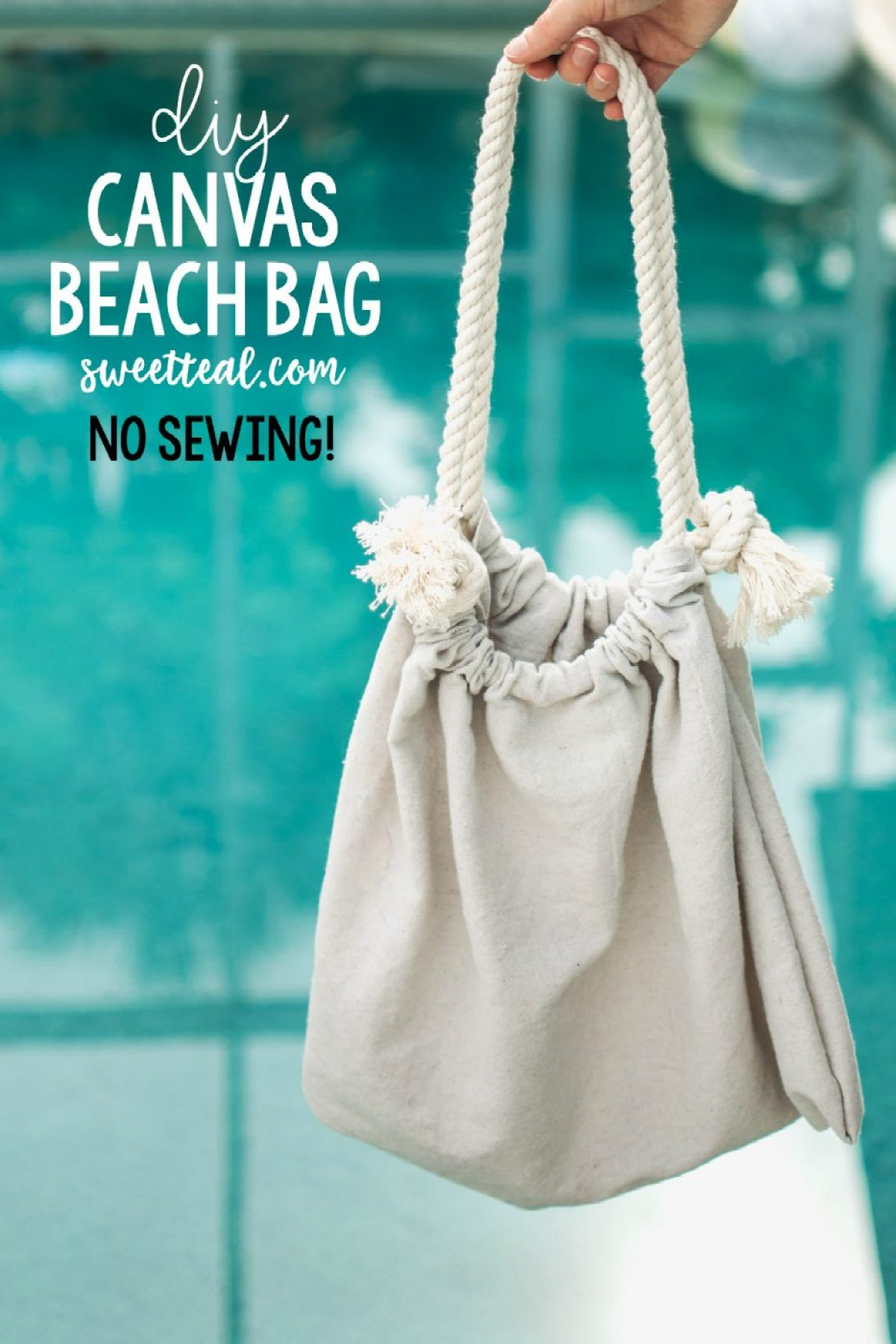 DIY Canvas & Rope Beach Bag No Sew by Jenny of Sweet Teal