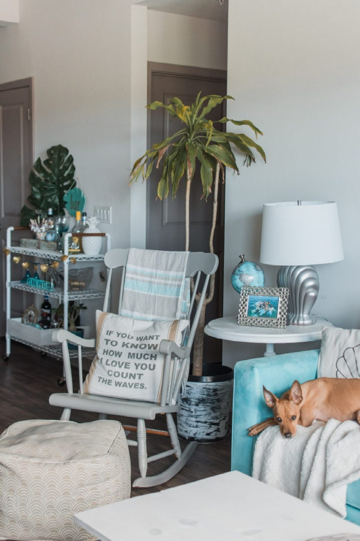 Boho Tropical Living Room with DIY Bar Cart - Sweet Teal