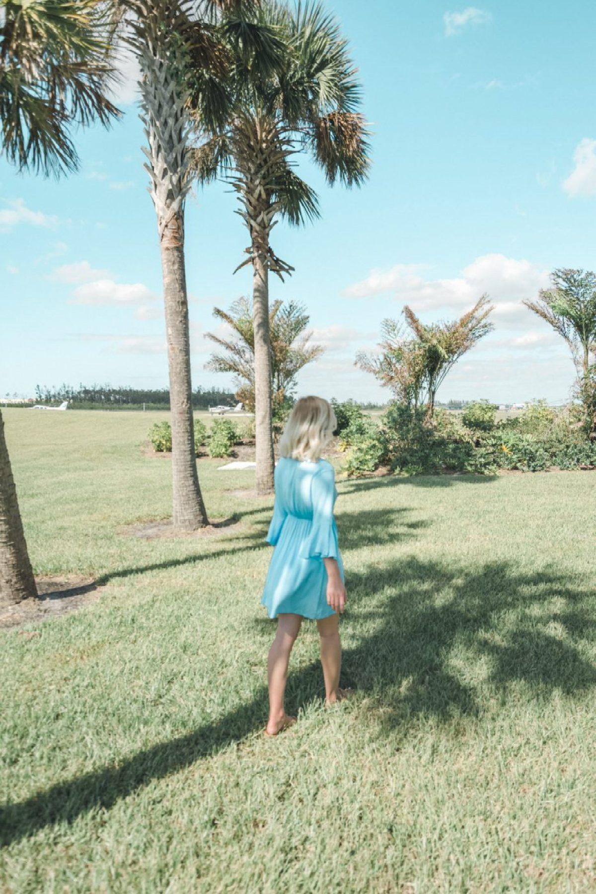 Jenny of Sweet Teal wearing blue dress