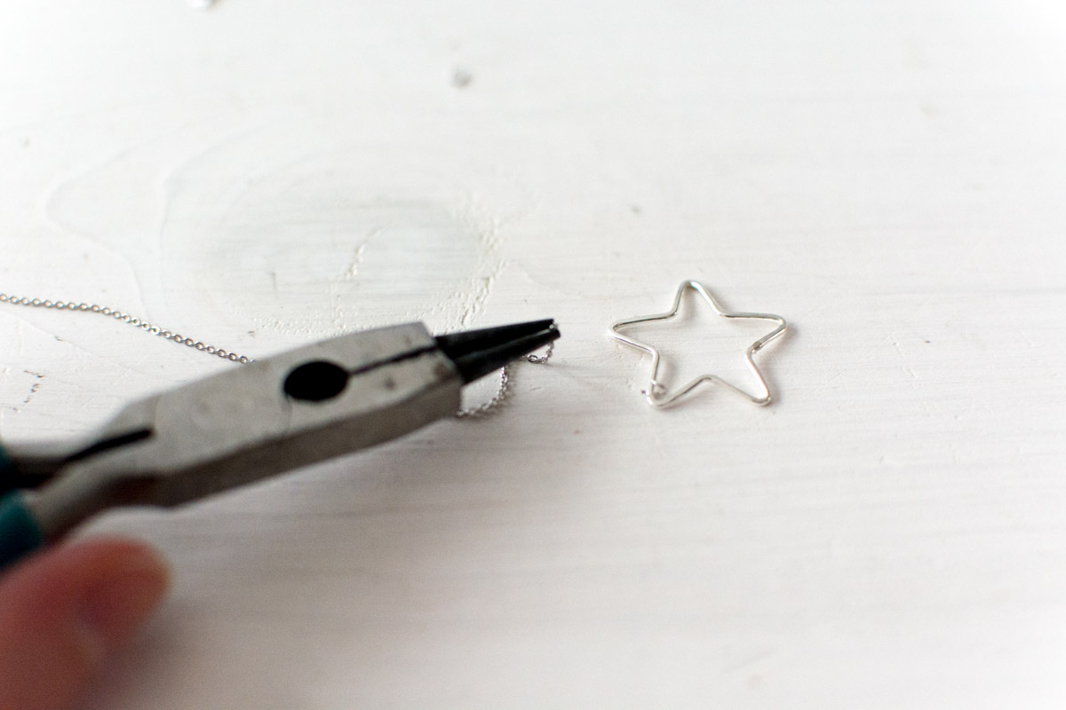 making the star necklace - sweet teal