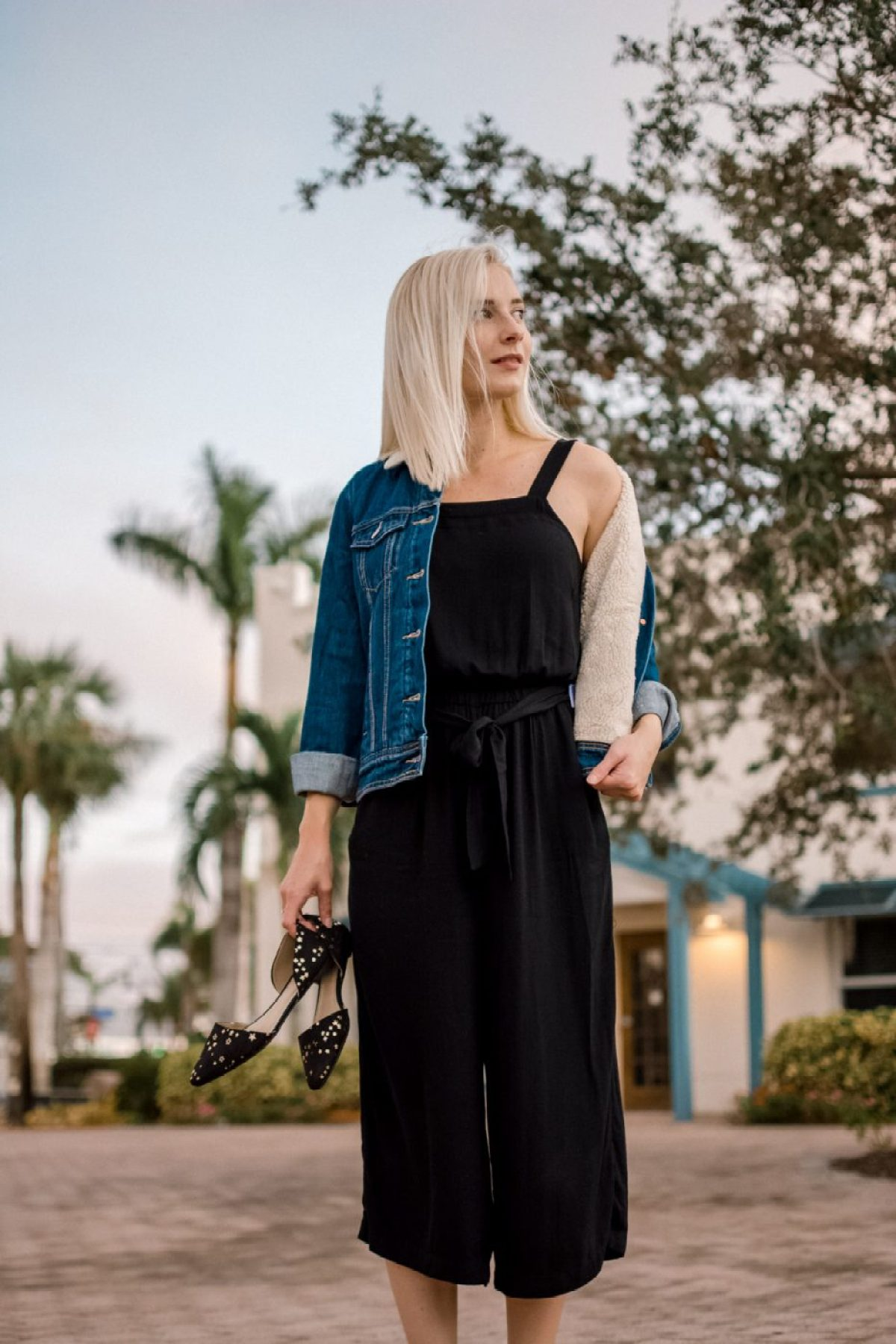 Jenny wearing Sherpa Jacket & Jumpsuit from Old Navy - Sweet Teal