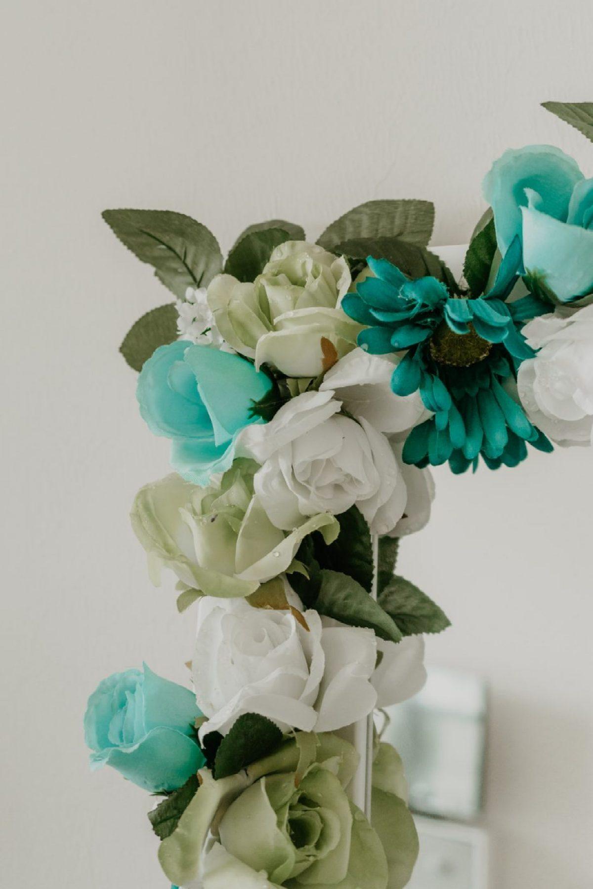 Corner of DIY Flower Mirror - Sweet Teal