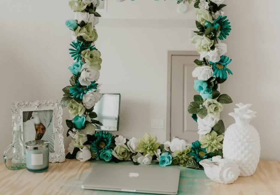 DIY Flower Framed Mirror - Sweet Teal