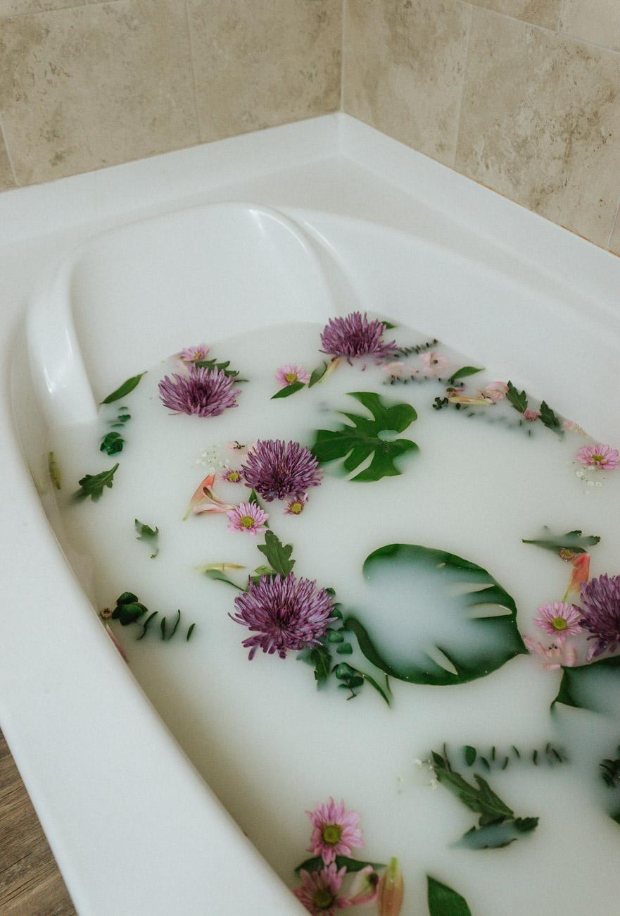 milk bath with florals