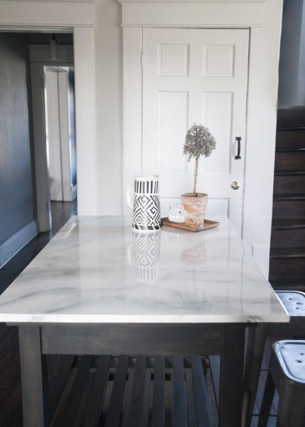 Painted Faux Marble Countertop - Make Your Home Look Like A Million Bucks