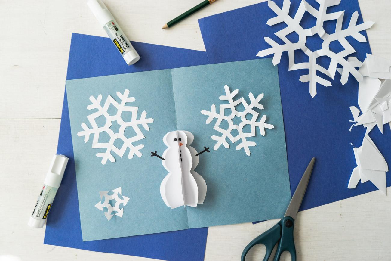 Snowman Christmas Cards Diy.Diy Pop Up Christmas Cards 2 Ways Tree Card Snowman Card