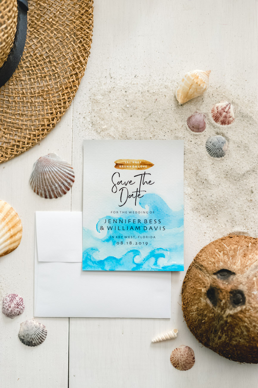 Save The Date for a Beach Wedding - Sweet Teal by Jenny Bess
