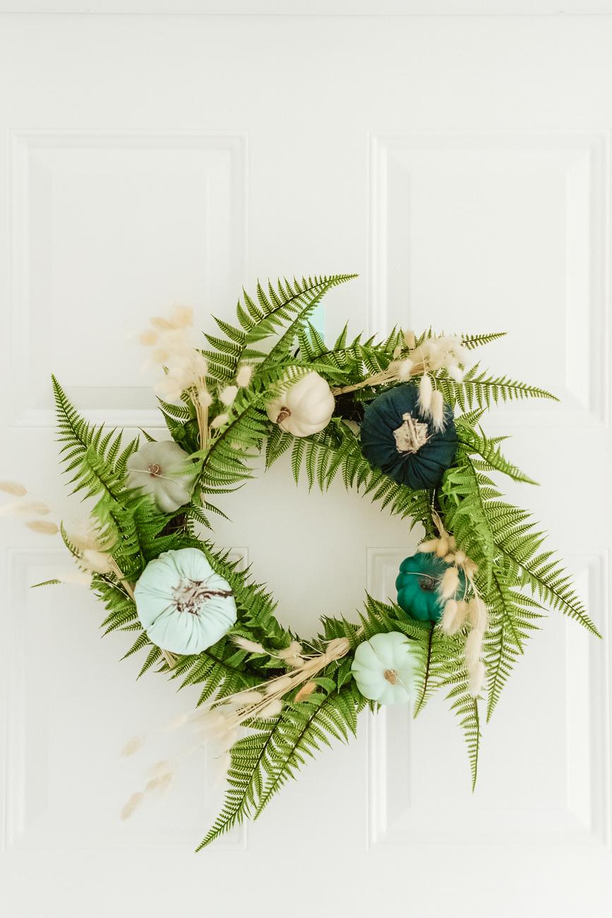 Wreath For Fall Using Blue Pumpkins