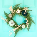 DIY Wreath For Fall on Blue Front Door