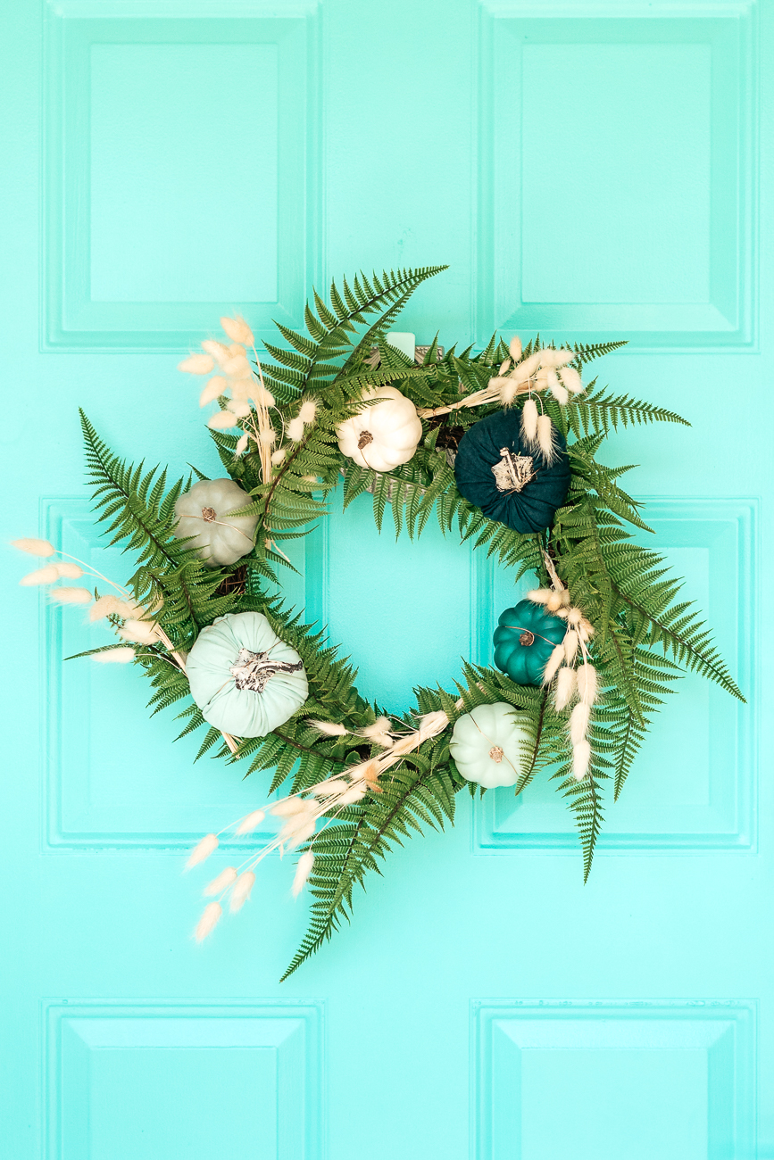 DIY Wreath For Fall on Blue Front Door