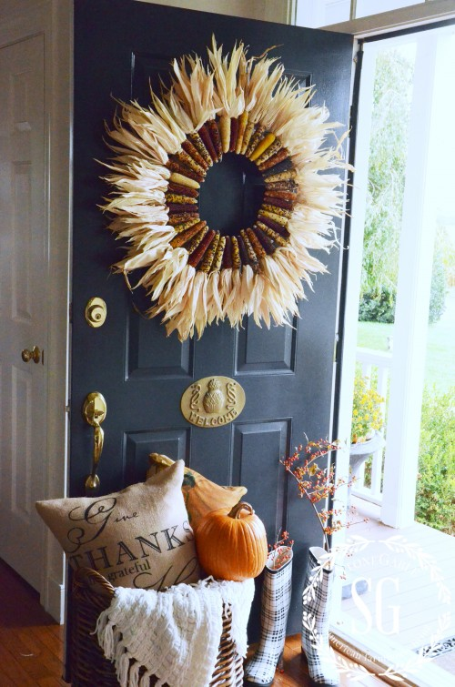 Indian corn wreath for fall front doors