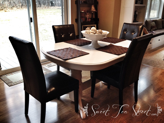 Before & After {Kitchen Table Makeover}: Oak To White