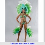 Chez Zen Mas, Carnival, sexy model in green costume, feathers, bikini, brassiere, panty, beads, Business, Entrepreneurs in Trinidad and Tobago, Launch Rockit, Start-up Weekend, Start up, in sweet t&t for Sweet TnT Magazine