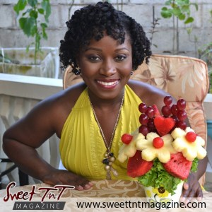 Daniella Dalton Fruitilicious, fruit bouquet in sweet T&T for Sweet TnT Magazine, Culturama Publishing Company, for news in Trinidad, in Port of Spain, Trinidad and Tobago, with positive how to photography.
