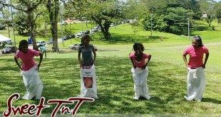 Potato sack race at Palmiste Park in sweet T&T for Sweet TnT Magazine, Culturama Publishing Company, for news in Trinidad, in Port of Spain, Trinidad and Tobago, with positive how to photography.