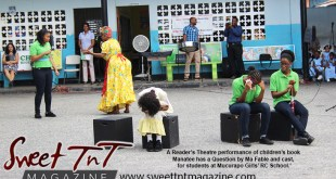 Reader's theatre, children act in schoolyard, Stacey Alfonso-Mills, Literature, in sweet T&T, Sweet TnT Magazine in Trinidad and Tobago