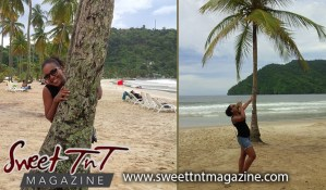 Winta drinking coconut water by coconut tree at Maracas Beach, Sweet T&T, Sweet TnT, Trinidad and Tobago, Trini, vacation, travel,