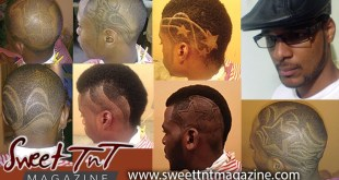 Barber-Q Quintin Feveck with fancy hair cuts, afro, side burns of stars, maps, swirls on heads of boys, men, trim, mark, leather hat, by Kielon Hilaire in Sweet T&T, Sweet TnT, Trinidad and Tobago, Trini, vacation, travel