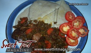 Delectable local food by Marissa Armoogam dumplings, stewed chicken, tomatoes, meal by Wendy ann Alexander in Sweet T&T, Sweet TnT Magazine, Trinidad and Tobago, Trini, vacation, travel