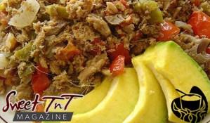 Smoked herring, buljol and avocado, zaboca, tomato, onion, breakfast by Cuisine in ah Pot, in Sweet T&T, Sweet TnT Magazine, Trinidad and Tobago, Trini, vacation, travel