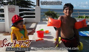A rustic family adventure in Matelot by Nerissa Hosein, children Zayn in water wings and Eshan in life jacket at Matelot Beach in Sweet T&T, Sweet TnT Magazine, Trinidad and Tobago, Trini, vacation, travel