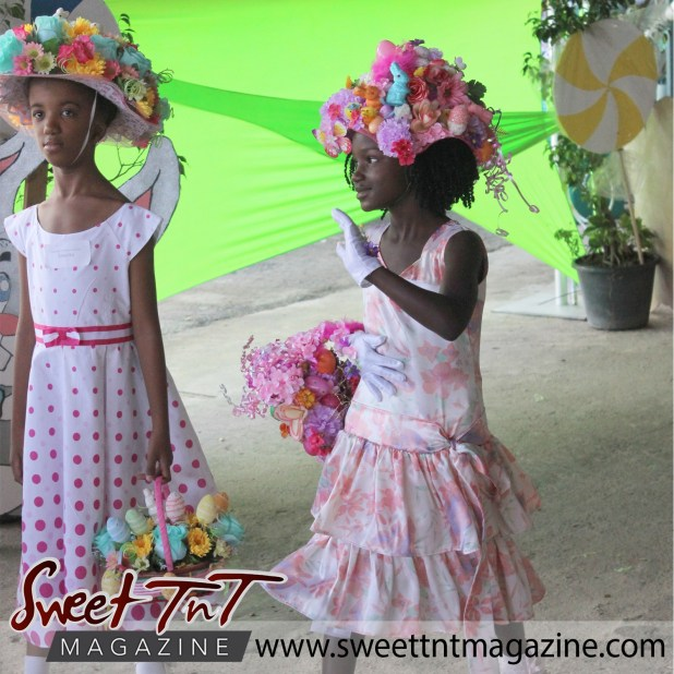 Girls in pink and white dresses at special needs children Easter Bonnet parade at Queen's Park Cricket Club, color eggs, Sweet T&T, Sweet TnT, Trinidad and Tobago, Trini, vacation, travel