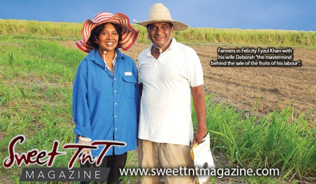 Farmers in Felicity Fyzul Khan with wife Deborah Khan, parents of Candida and Katrina Khan, wearing blue shirt, white t shirt wearing farmer's hats in Sweet T&T, Sweet TnT, Trinidad and Tobago, Trini, vacation, travel