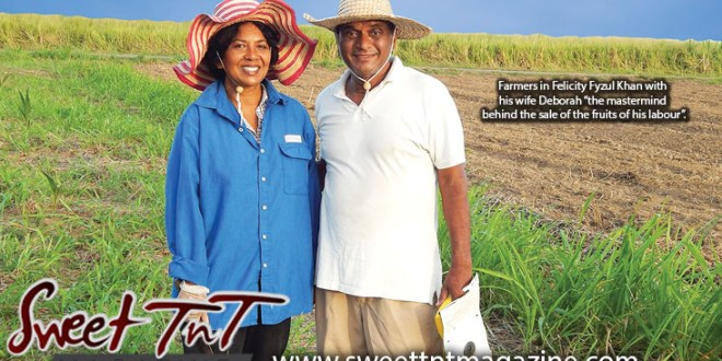Farming in Felicity Fyzul Khan with wife Deborah Khan, parents of Candida and Katrina Khan, wearing blue shirt, white t shirt wearing farmer's hats in Sweet T&T, Sweet TnT, Trinidad and Tobago, Trini, vacation, travel