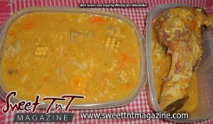 Ham bone corn soup by Wendy Ann Alexander for Secret ingredient article in Sweet T&T, Sweet TnT, Trinidad and Tobago, Trini, vacation, travel,