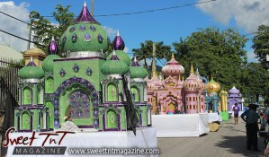 Hosay Muslim floats line streeets at parade in Sweet T&T, Sweet TnT, Trinidad and Tobago, Trini, Travel, Vacation, Tourist, Hosay, Muslim, Parade, Tomb, Drummers, Funeral Procession, Woodbrook, St James, St Clair, Palm, Dancing the moon, Tadjahs, Moons, Tadjahs, mosques, Hussein, Hassan, tombs, tassa side, two moons, Husayn, Hassan