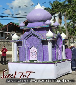 Hosay purple float in Sweet T&T, Sweet TnT, Trinidad and Tobago, Trini, Travel, Vacation, Tourist, Hosay, Muslim, Parade, Tomb, Drummers, Funeral Procession, Woodbrook, St James, St Clair, Palm, Dancing the moon, Tadjahs, Moons, Tadjahs, mosques, Hussein, Hassan, tombs, tassa side, two moons, Husayn, Hassan