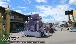 Hosay parade float in Sweet T&T, Sweet TnT, Trinidad and Tobago, Trini, Travel, Vacation, Tourist, Hosay, Muslim, Parade, Tomb, Drummers, Funeral Procession, Woodbrook, St James, St Clair, Palm, Dancing the moon, Tadjahs, Moons, Tadjahs, mosques, Hussein, Hassan, tombs, tassa side, two moons, Husayn, Hassan