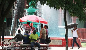 Snow cone, Woodford Square, umbrella, fountain, vendor, lottery ticket, Sweet T&T, Sweet TnT, Trinidad and Tobago, Trini, Travel, Vacation, Tourist,