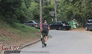 Cyclist daytime on Lady Chancellor Hill Port of Spain for story original outdoor gym in Sweet T&T, Sweet TnT, Trinidad and Tobago, Trini, vacation, travel