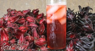 Sorrel juice or roselle drink or juice in glass with ice with red fruit for Christmas season or health benefits for cholesterol, blood pressure, bladder infections, constipation, maylase, use recipe for good taste and health benefits in in Sweet T&T, Sweet TnT, Trinidad and Tobago, Trini, Sorrel Chicken