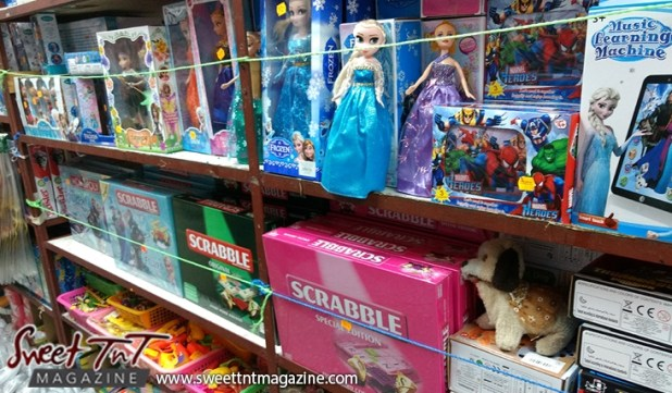 Toys in variety store in Port of Spain for holiday in sweet t&t for Sweet TnT Magazine in Trinidad and Tobago