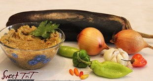Baigan, eggplant, melongene choka, baba ghanoush... recipe in sweet T&T for Sweet TnT Magazine, Culturama Publishing Company, for news in Trinidad, in Port of Spain, Trinidad and Tobago, with positive how to photography.