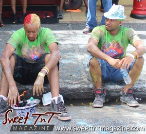 Trinidad and Tobago Carnival Jouvert masqueraders resting on Ariapita Avenue, Carnival 2017 in sweet T&T for Sweet TnT Magazine, Culturama Publishing Company, for news in Trinidad, in Port of Spain, Trinidad and Tobago, with positive how to photography.