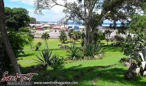 View of Tobago's ferry docks, boats and the ocean from Scarborough Botanical Gardens in sweet T&T for Sweet TnT Magazine, Culturama Publishing Company, for news in Trinidad, in Port of Spain, Trinidad and Tobago, with positive how to photography.