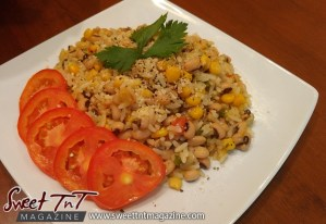 Veggie one pot dish in sweet T&T for Sweet TnT Magazine, Culturama Publishing Company, for news in Trinidad, in Port of Spain, Trinidad and Tobago, with positive how to photography.