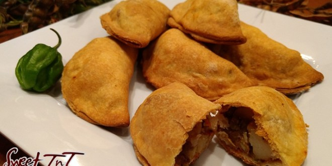Patties on a plate in sweet T&T for Sweet TnT Magazine, Culturama Publishing Company, for news in Trinidad, in Port of Spain, Trinidad and Tobago, with positive how to photography.